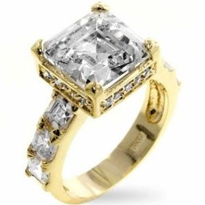 14K Yellow Gold Plated Brass Cubic Zirconia Music